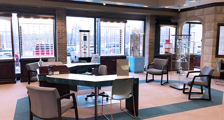 reception and service area of Andrews Eyecare Center